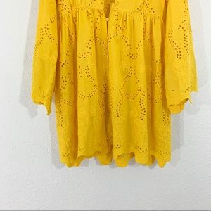 Zara Dresses - Zara Yellow Floral Embroidered Button Up Dress